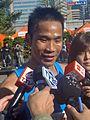 2008 ING Taipei Marathon Wen-chien Wu interviewed by local media.jpg
