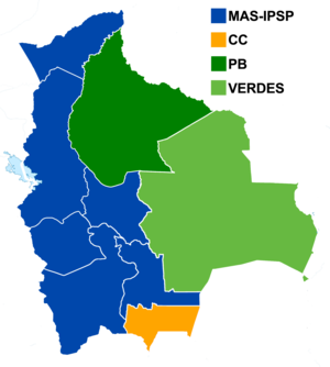 Bolivian regional elections, 2010 - Results of the governors elections.