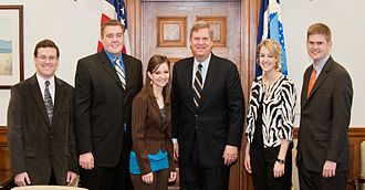 National FFA Organization - United States Secretary of Agriculture Tom Vilsack (3rd from right) stands with five former National FFA Officers in 2011.