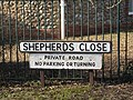 2018-03-29 Street name sign, Shepherds Close, East Runton.JPG