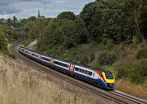 East Midlands Trains - An East Midlands Trains Class 222 Meridian passing Clay Cross, Derbyshire