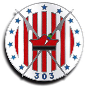 "Polish 7th Air Escadrille - Insignia of the 303 Polish Squadron, during World War II, would be identical with that of the Kościuszko Squadron. The 303 Squadron honour badge had ""303"" added to the original Kościuszko Squadron emblem."