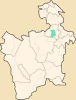 Location of the Municipio Yocalla in the Department of Potosí