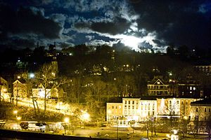 Rondout, New York - A view of The Strand in the old town of Rondout under a full moon