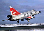 57th Fighter-Interceptor Squadron F-102 Delta Dagger taking off.jpg