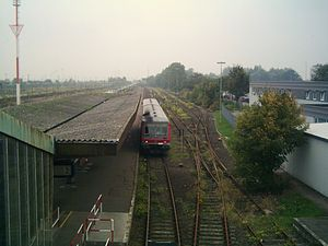 Puttgarden station - Track field looking towards Burg with Regionalbahn operated by class628