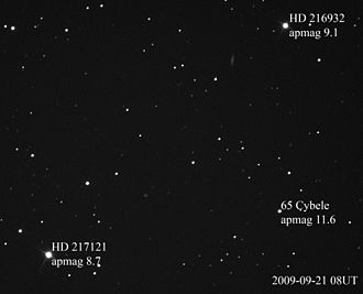 Apparent magnitude - Asteroid 65 Cybele and two stars, with their magnitudes labeled