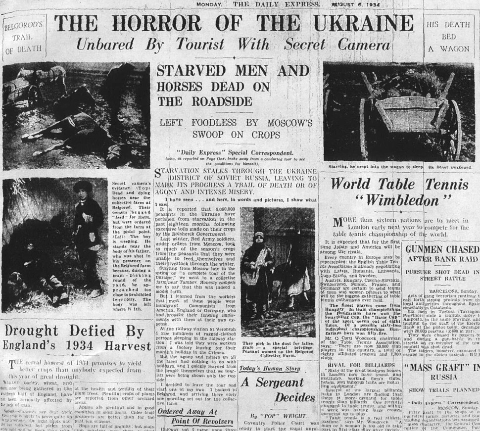 6 aug top daily express Holodomor Genocide
