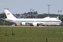 A Boeing E-4B of the 1st Airborne Command and Control Squadron seen at Offutt AFB in 2012.
