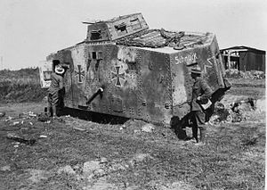 173rd (3/1st London) Brigade - Knocked-out A7V tank.