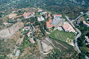 Flintridge Sacred Heart Academy - An aerial view of the FSHA campus, from the Student Activities Center and Crane Field on the right to the Administration Building and convent on the left.