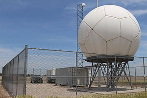 Atmospheric Radiation Measurement Climate Research Facility - Three X-band scanning precipitation radars are located throughout the Southern Great plains site. They are dual-polarized Doppler weather radars that simultaneously transmit and receive both horizontal and vertical polarizations, providing measurements to identify precipitation type and to estimate rainfall rates. Positioned around the Central Facility, they also provide the capability to use multi-Doppler velocity retrievals to estimate wind fields.