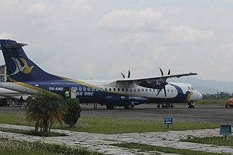Buddha Air - ATR 72-500 of Buddha Air with registration 9N-AMD at Pokhara Airport in 2018