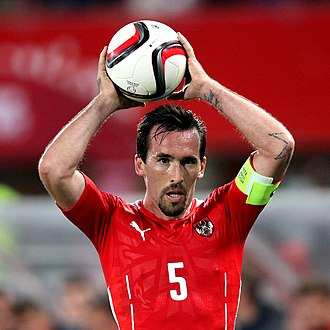 Christian Fuchs - Fuchs taking a throw-in during a UEFA Euro 2016 qualifier against Moldova in September 2015