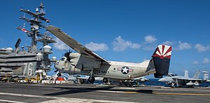 Grumman C-2 Greyhound - C-2A 162175 lost on November 22 2017, seen here landing on the USS Ronald Reagan in July 2017