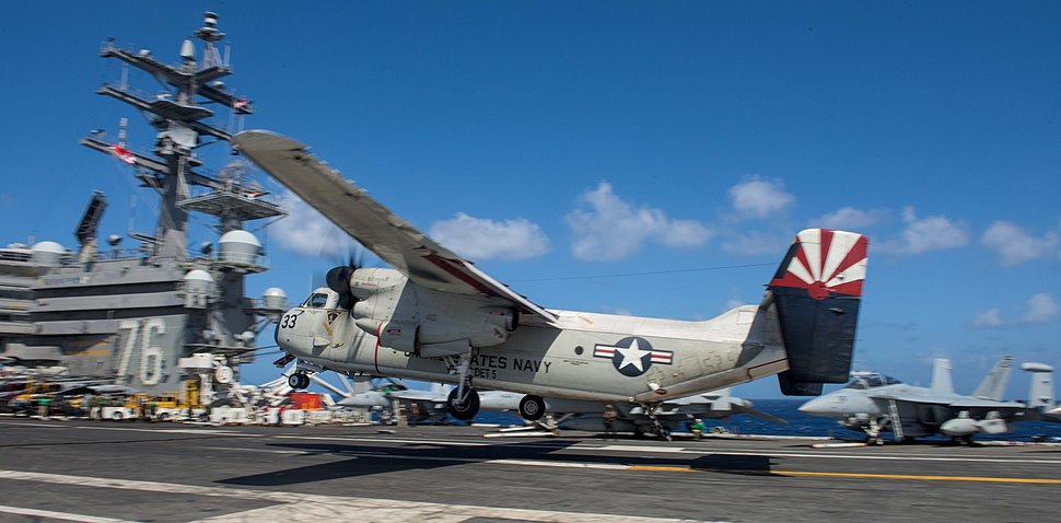 A C-2A Greyhound lands on the flight deck of USS Ronald Reagan. (35349241870)