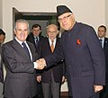 A Italian delegation led by the Minister of Economic Development, Mr. Claudio Scajola meeting the Union Minister of New and Renewable Energy, Dr. Farooq Abdullah, in New Delhi on December 14, 2009.jpg