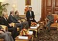 A Parliamentary Delegation led by the Speaker of the Islamic Consultative Assembly of the Islamic Republic of Iran, Mr. Ali Ardeshir Larijani called on the President, Shri Pranab Mukherjee, in New Delhi on February 27, 2013.jpg