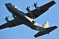 A U.S. Army paratrooper with the 173rd Airborne Brigade Combat Team jumps from an Air Force C-130 Hercules aircraft with a T-11 parachute over the 7th Army Joint Multinational Training Command's Grafenwoehr 130801-A-BS310-577.jpg