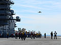 A U.S. Navy X-47B Unmanned Combat Air System demonstrator aircraft flies over the flight deck of the aircraft carrier USS George H.W. Bush (CVN 77) May 14, 2013, in the Atlantic Ocean 130514-N-TB177-640.jpg