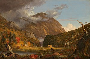 Crawford Notch - The Notch of the White Mountains (1839), by Thomas Cole (1801–1848), looking south past Saco Lake