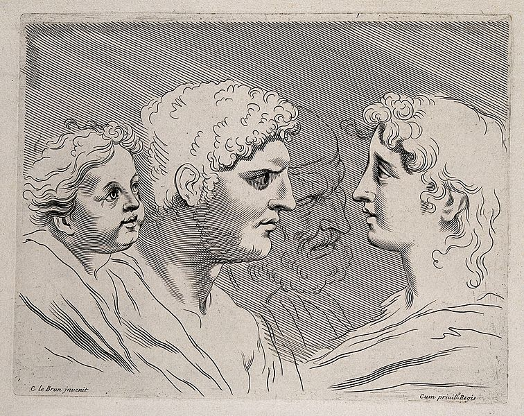 File:A child and a man look at a woman; an outline of an ...