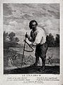A corn-harvester, with a scythe and a sickle. Engraving by L Wellcome V0025646.jpg
