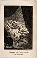 A man disturbed from sleep by visions. Etching by H. Brocas. Wellcome V0036044.jpg