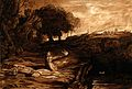 A seated veiled mourning female figure in a landscape holdin Wellcome V0049114.jpg