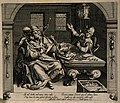 A wealthy man is stabbed by a skeleton while a man weighs co Wellcome V0007647.jpg