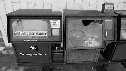 Abandoned Los Angeles Times vending machine in Covina, California, in 2011 AbandonedLosAngelesTimesVendingMachine2011.jpg
