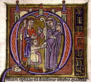 Simony - Abbot practising simony (France, 12th century)