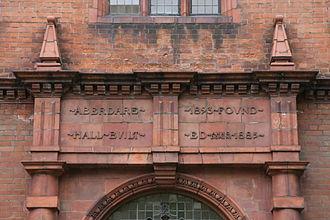 Aberdare Hall - Commemorative plaque above main entrance