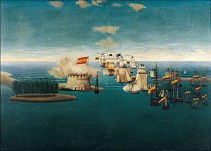 """Colombian Navy - """"Acción del Castillo de Maracaibo """" Painting by José María Espinosa Prieto (1796–1883)"""