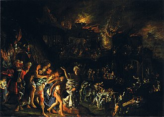 Adam Elsheimer - The burning of Troy, c. 1604, Alte Pinakothek, 36 x 50 cm