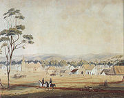 Adelaide in 1839, looking south-east from North Terrace