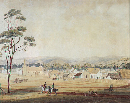 Adelaide in 1839. South Australia was founded as a free-colony, without convicts. Adelaide North Tce 1839.jpg