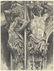 Pencil drawing of two figures