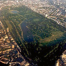 Aerial photograph of Kensington Gardens, Hyde Park and the surrounding area.