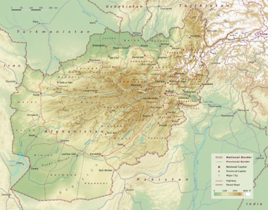 Hindu Kush and its extending mountain ranges to the west. Afghanistan physical en.png
