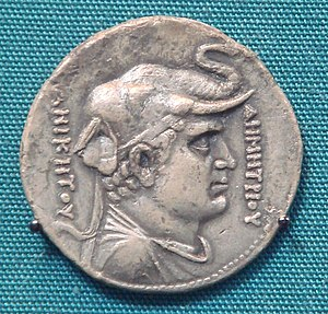 "Agathocles of Bactria - Pedigree coin of Agathocles with Demetrius I. Obv: – Greek inscription reads: ΔΗΜΗΤΡΙΟΥ ΑΝΙΚΗΤΟΥ i.e. ""of Demetrius the Invincible""."