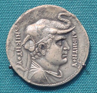 "Demetrius I of Bactria - Demetrius, with Greek legend ΔΗΜΗΤΡΙΟΥ ΑΝΙΚΗΤΟΥ ""Demetrius Invincible"" (Pedigree coin minted by Agathocles). British Museum."