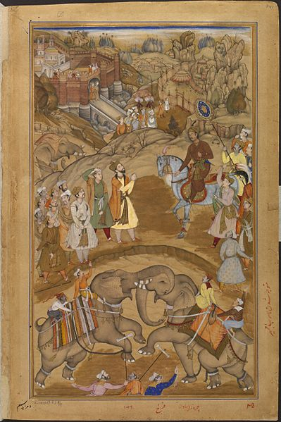 File:Akbar Being Received by Khan Kilan, the Governor of Nagaur, in 1570, Akbarnama.jpg