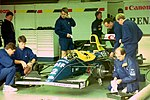 Alain Prost`s Williams FW15C in the pit garage at the 1993 British Grand Prix (33686801025).jpg