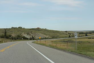 Alberta Highway 3 - Looking east on Highway 3 near Lundbreck