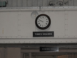 "Alcatraz Dining Hall - ""Times Square"" clock outside dining hall"