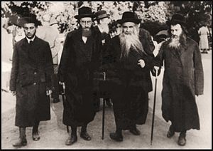 Aleksander (Hasidic dynasty) - Akeidas Yitzchok walking with his sons and student in Marienbad, 1930's.