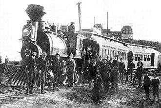 Los Angeles Terminal Railway - The Los Angeles Terminal Railway in Pasadena near Raymond Hotel in background, ca. 1888