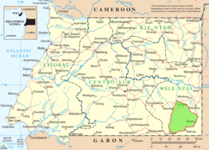 Altos de Nsork National Park - Boundaries of Altos de Nsork (green shaded area)