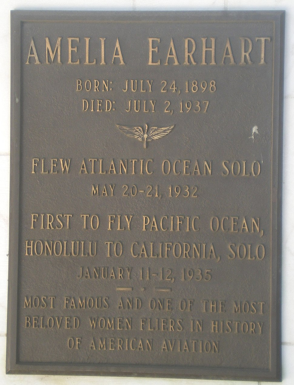 Amelia Earhart Plaque at Portal of the Folded Wings